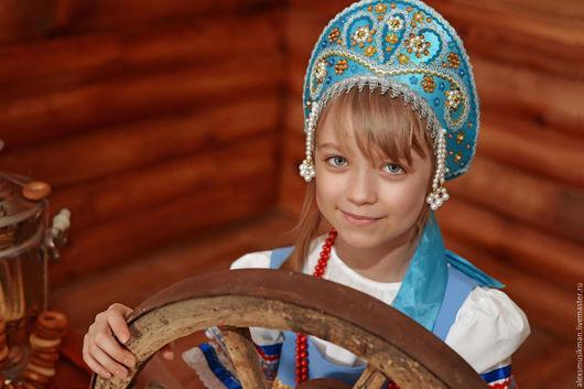 Кокошники ` Забава с вышивкой`. Детские размеры. Только групповые заказы, Сделано вручную. Минимальный заказ 5 шт. Для танцевальных, хоровых , и творческих коллективов.