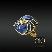Украшения handmade. Livemaster - original item The Royal ring with lapis and CZ. Gilding 24K, silver 925. Handmade.