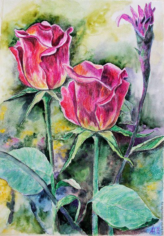 Картины цветов ручной работы. Ярмарка Мастеров - ручная работа. Купить Акварельные карандаши. Роза - символ любви. Handmade. Розовый