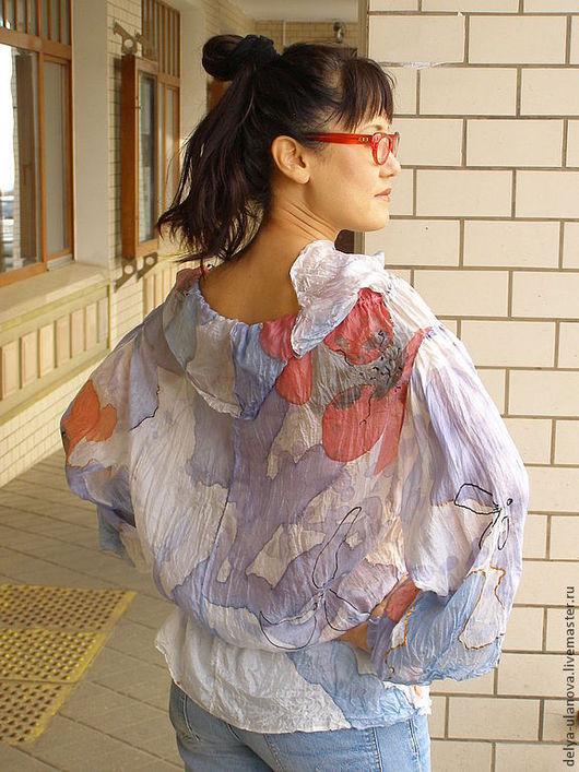 """Блузки ручной работы. Ярмарка Мастеров - ручная работа. Купить Блуза """"Маки"""". Handmade. Голубой, блуза, hand made"""