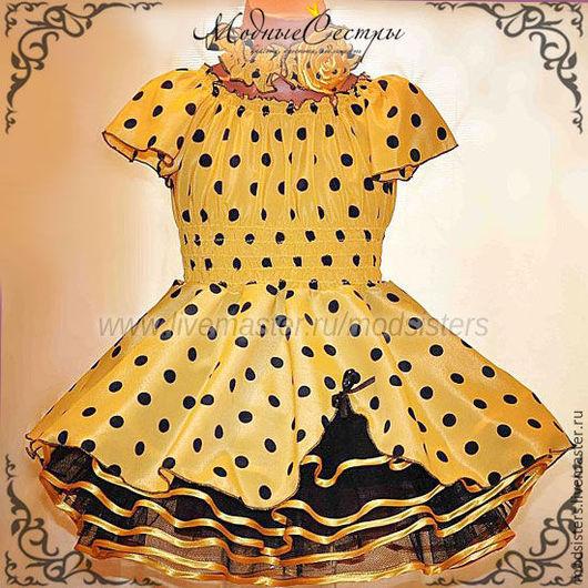 """Одежда для девочек, ручной работы. Ярмарка Мастеров - ручная работа. Купить Детское платье """"Желтое черным горохом"""" Арт.321. Handmade."""
