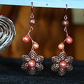 Украшения handmade. Livemaster - original item Earrings copper Lotus. Handmade.
