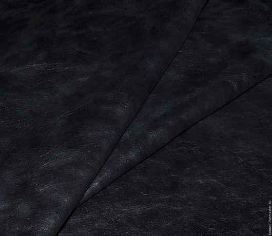 Шитье ручной работы. Ярмарка Мастеров - ручная работа. Купить Натуральная кожа. Ночь (КРС винтажная кожа). Handmade. Черный