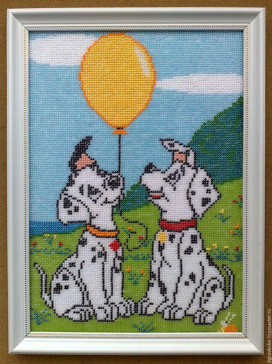 """Животные ручной работы. Ярмарка Мастеров - ручная работа. Купить Картина бисером """"Далматинцы"""". Handmade. Комбинированный, Вышивка бисером, на заказ"""