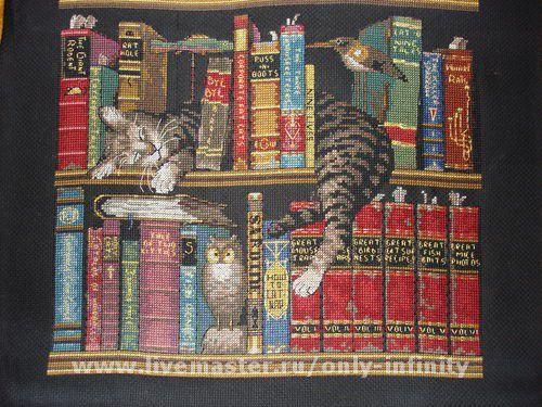 Вышивка коты и книги