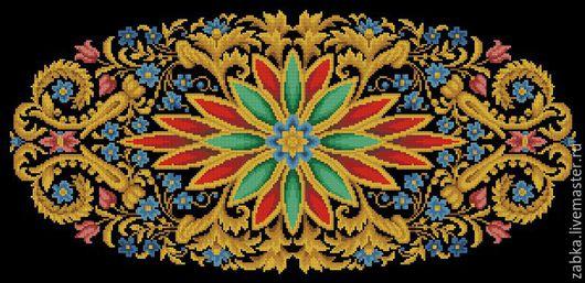 Вышивка ручной работы. Ярмарка Мастеров - ручная работа. Купить Овальный узор для диванной подушки (схема вышивки). Handmade. Разноцветный