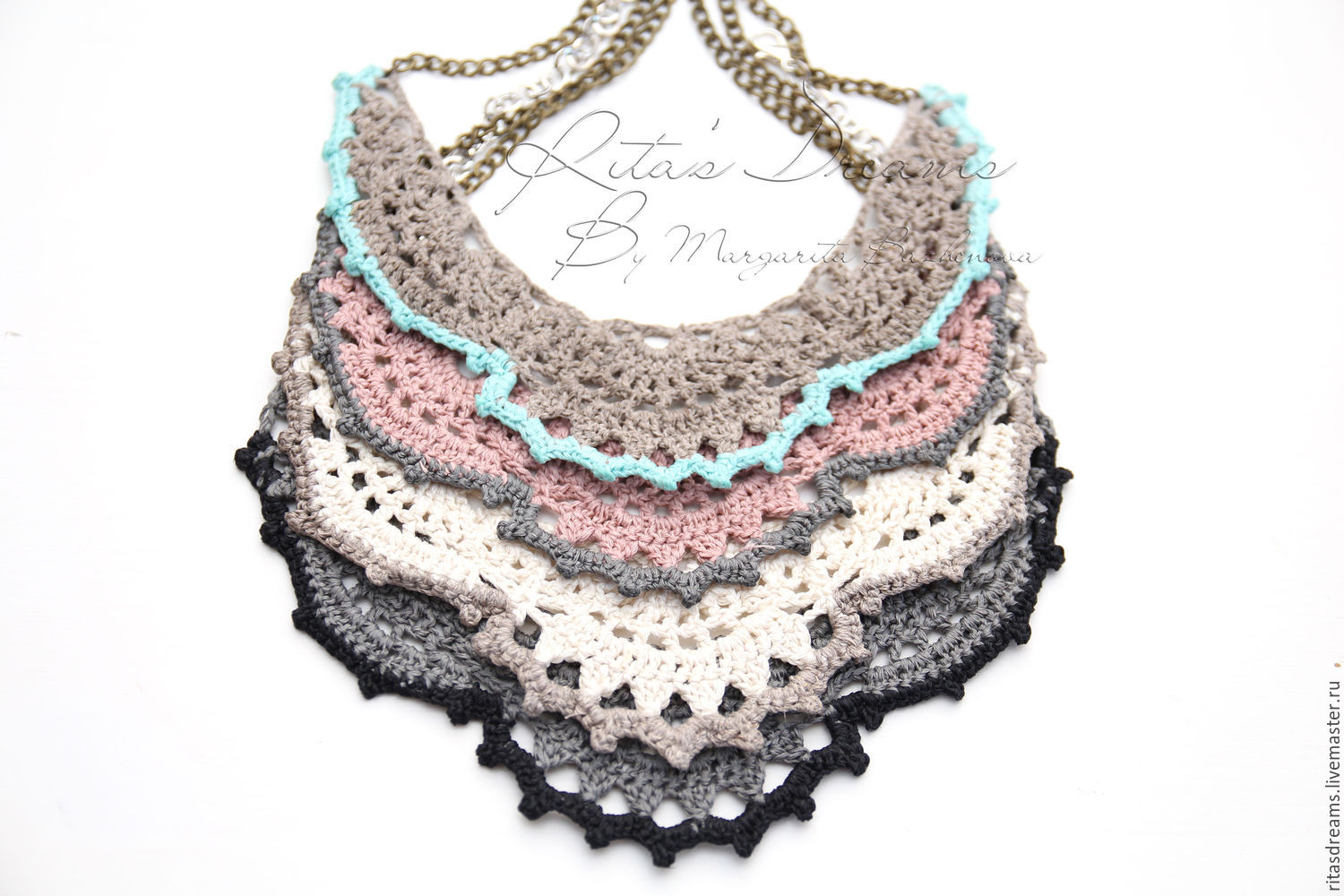 Easy knit necklace made of natural linen is available in several different colors: gray blue, dusty pink, grey, milk-white grey, dark grey black.