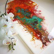 """Картины ручной работы. Ярмарка Мастеров - ручная работа Яркая прямоугольная картина """"Комета"""". Handmade."""