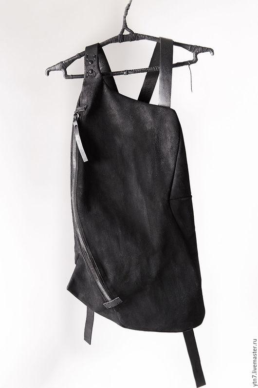 Рюкзаки ручной работы. Ярмарка Мастеров - ручная работа. Купить Кожаный рюкзак 077Y-black. Handmade. Черный, дизайнерская сумка