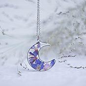 Украшения handmade. Livemaster - original item Pendant in the shape of a Crescent with flowers. Handmade.