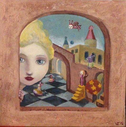 """Фантазийные сюжеты ручной работы. Ярмарка Мастеров - ручная работа. Купить """"Девочка в замке"""", работа акрилом. Handmade. Комбинированный"""
