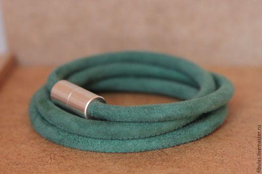 Браслеты ручной работы. Ярмарка Мастеров - ручная работа. Купить Браслет замшевый из круглых шнуров. Handmade. Морская волна