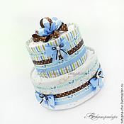 Подарки к праздникам ручной работы. Ярмарка Мастеров - ручная работа Торт из памперсов и пеленок для мальчика. Handmade.