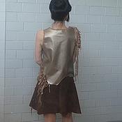 Одежда ручной работы. Ярмарка Мастеров - ручная работа Блуза из натуральной кожи с вязаным декором. Handmade.