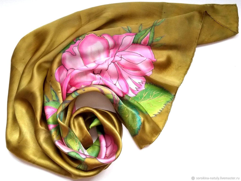 НОВОГОДНЯЯ ЦЕНА 1650 руб.!Оливковый Красивый подарок Батик платок Золотой Атласный платок Подарок женщине Подарок девушке Купить подарок Красивый платок Подарок на новый год Платок на шею Шёлковый рай