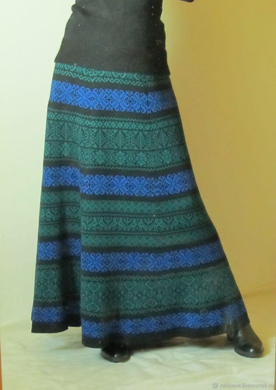 Юбка вязаная с сине-зеленым орнаментом, Юбки, Курагино,  Фото №1
