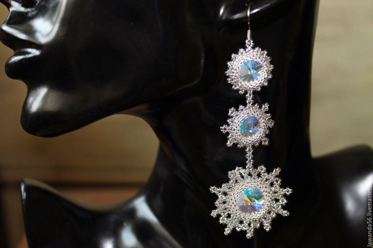 Earrings with Swarovski crystals in the shape of snowflakes Snowfall, Earrings, Krasnoyarsk,  Фото №1