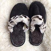 Обувь ручной работы handmade. Livemaster - original item Men`s suede Slippers.Sheepskin. Handmade.