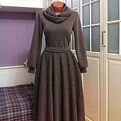 Одежда ручной работы. Ярмарка Мастеров - ручная работа Теплое платье миди со съемным снудом Капучино. Handmade.