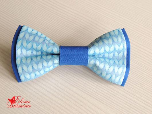 Галстуки, бабочки ручной работы. Ярмарка Мастеров - ручная работа. Купить Бабочка галстук с имитацией вязания, хлопок. Handmade. Синий