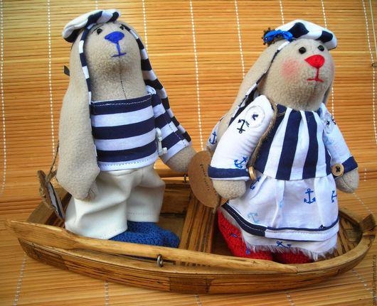Игрушки животные, ручной работы. Ярмарка Мастеров - ручная работа. Купить Мечты о мореееее!!!!Пара Заек в морском стиле с лодкой. Handmade.