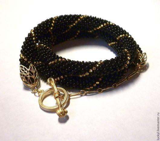 """Браслеты ручной работы. Ярмарка Мастеров - ручная работа. Купить Браслет-намотка """"Черный, золотой, разный"""" (бисерный браслет). Handmade."""