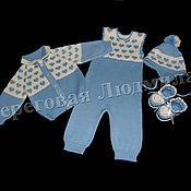 """Работы для детей, ручной работы. Ярмарка Мастеров - ручная работа Вязаный комплект для новорожденных Сердечный"""". Handmade."""