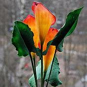 Цветы и флористика ручной работы. Ярмарка Мастеров - ручная работа Букет оранжевых калл. Handmade.