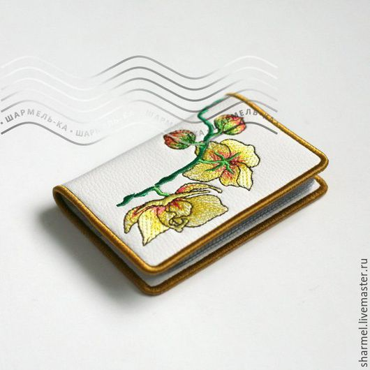 Картхолдер-визитница вышитая `Желтые орхидеи`. Полезные вещицы от Шармель-ки.