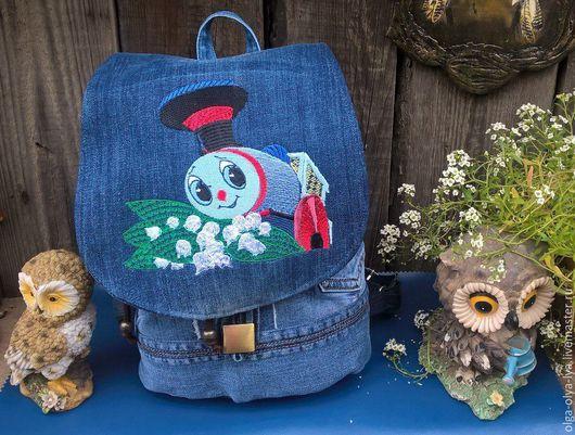 """Рюкзаки ручной работы. Ярмарка Мастеров - ручная работа. Купить Детский рюкзачок """"Паровозик из Ромашково"""". Handmade. Синий, рюкзак для девочки"""