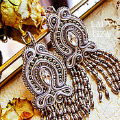 Украшения handmade. Livemaster - original item Soutache earrings Silver ice. soutache. Grey earrings. Handmade.