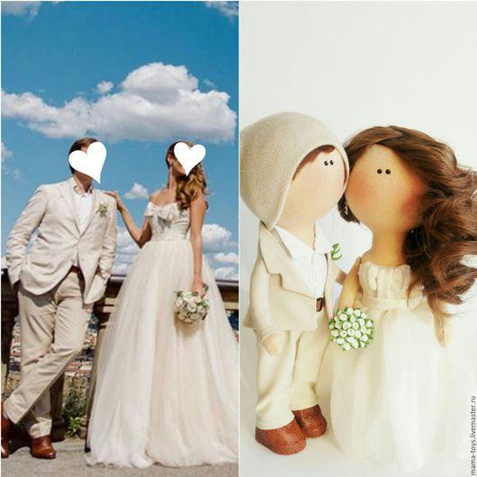 Коллекционные куклы ручной работы. Ярмарка Мастеров - ручная работа. Купить Свадебная пара по фото. Handmade. Интерьерная кукла, кукла