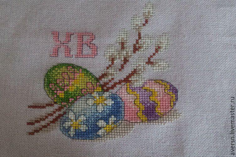 Пасхальное полотенце с ручной вышивкой на хлопковой ткани, Подарки, Москва, Фото №1