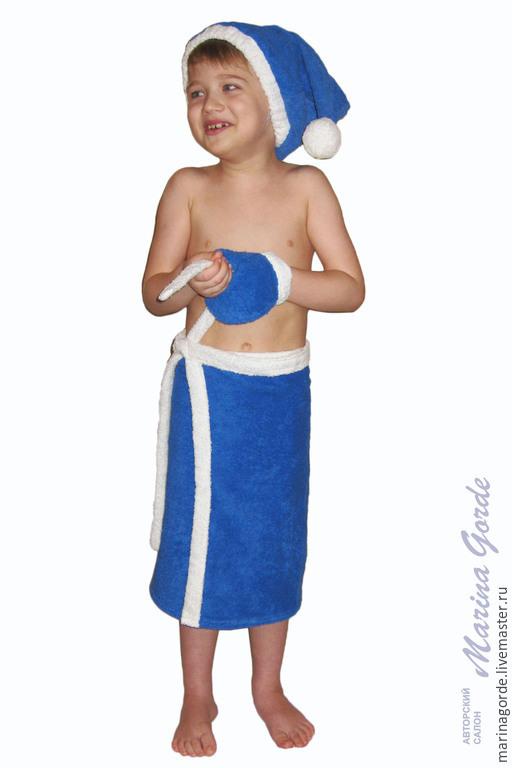 Банные принадлежности ручной работы. Ярмарка Мастеров - ручная работа. Купить Килт для бани детский. Handmade. Тёмно-синий