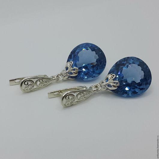 """Серьги ручной работы. Ярмарка Мастеров - ручная работа. Купить """"Butterfly in blue"""" - серьги. Handmade. Синий, серьги с топазами"""