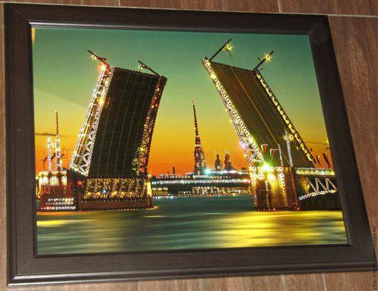 """Город ручной работы. Ярмарка Мастеров - ручная работа. Купить картина """" Развод мостов"""" со стразами SWAROVSKI. Handmade."""