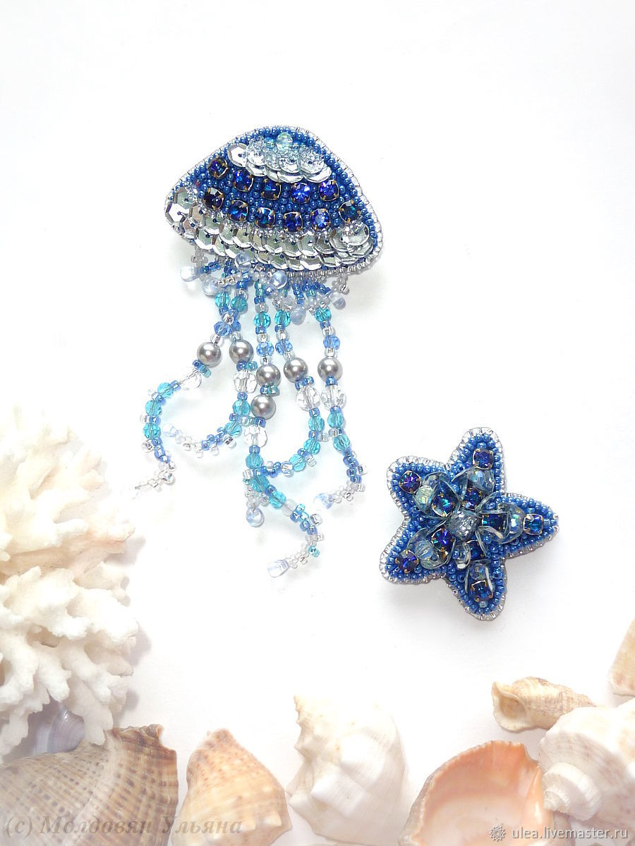 Set of brooches jellyfish and starfish, Brooch set, St. Petersburg,  Фото №1