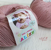Материалы для творчества ручной работы. Ярмарка Мастеров - ручная работа Пряжа Alize Baby Wool цвет пудра, шерстяная пряжа с вискозой. Handmade.