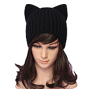 Аксессуары handmade. Livemaster - original item Hat with ears Cat black, elastic band knitted. Handmade.