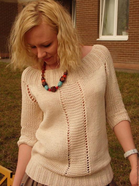 Кофты и свитера ручной работы. Ярмарка Мастеров - ручная работа. Купить Хлопковый  бохо-пуловер Магия сафари. Handmade. Бежевый