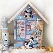 """Для дома и интерьера handmade. Livemaster - original item Key holders, marine decoupage """"Life is better at the beach"""". Handmade."""