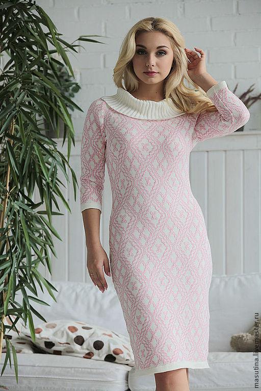 Dresses handmade. Livemaster - handmade. Buy Dress 'Delicate rose'.Knit dress, jacquard pattern