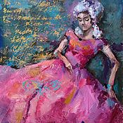 Картины и панно handmade. Livemaster - original item Oil painting Girl Letter (pink gold blue-green). Handmade.