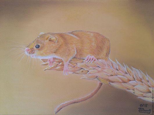 Животные ручной работы. Ярмарка Мастеров - ручная работа. Купить Мышка на колоске. Handmade. Бежевый, мышка на колоске, пастель