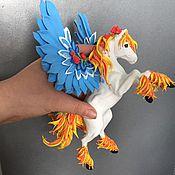 """Субкультуры ручной работы. Ярмарка Мастеров - ручная работа фигурка """"Пегас с голубыми крыльями"""" (пегас фентази лошадь). Handmade."""