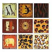 """Картины и панно ручной работы. Ярмарка Мастеров - ручная работа Картина """"Африка"""" из 9ти элементов. Handmade."""