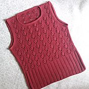 Одежда handmade. Livemaster - original item Burgundy summer top with openwork pattern. Handmade.