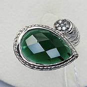 Украшения handmade. Livemaster - original item Silver ring with 16h10 mm fluorite and cubic zirconia. Handmade.