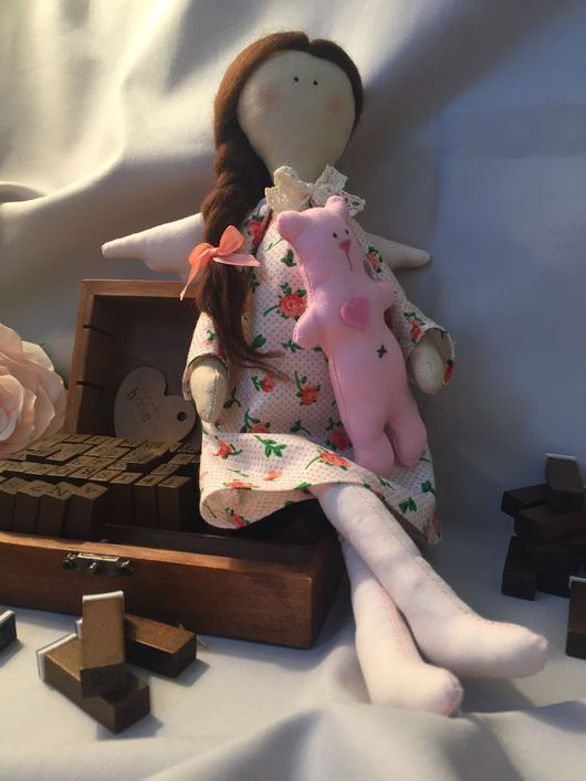 Куклы Тильды ручной работы. Ярмарка Мастеров - ручная работа. Купить Ангел-девочка с мишкой. Handmade. Ангел, для дома и интерьера