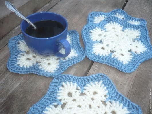 Кухня ручной работы. Ярмарка Мастеров - ручная работа. Купить Подставки под чашки Первый снег (тёмно-голубой). Handmade.